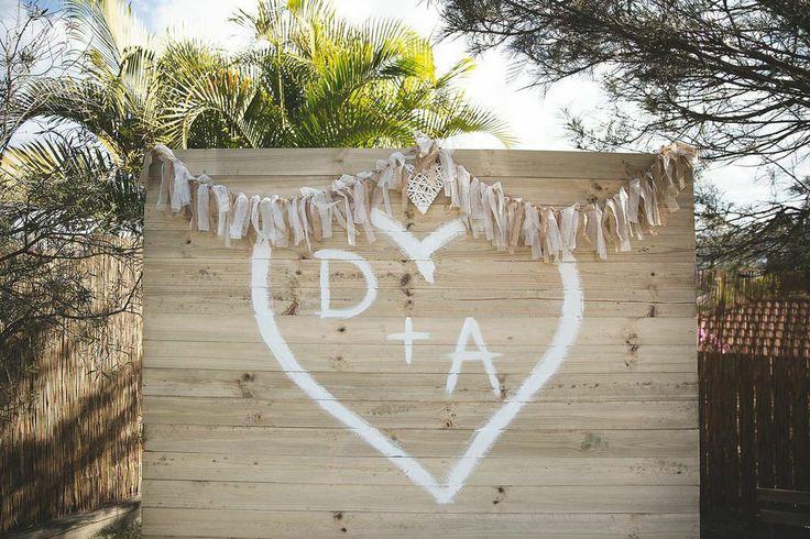 DIY Ceremony backdrop for backyard wedding