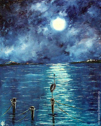 """Цапля Млечного пути""  Heron of the Milky way by Victoria Sokolova oil, canvas, 2014"