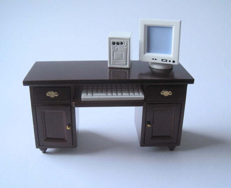 schreibtisch mit computer pc puppenhaus m bel wohnzimmer. Black Bedroom Furniture Sets. Home Design Ideas
