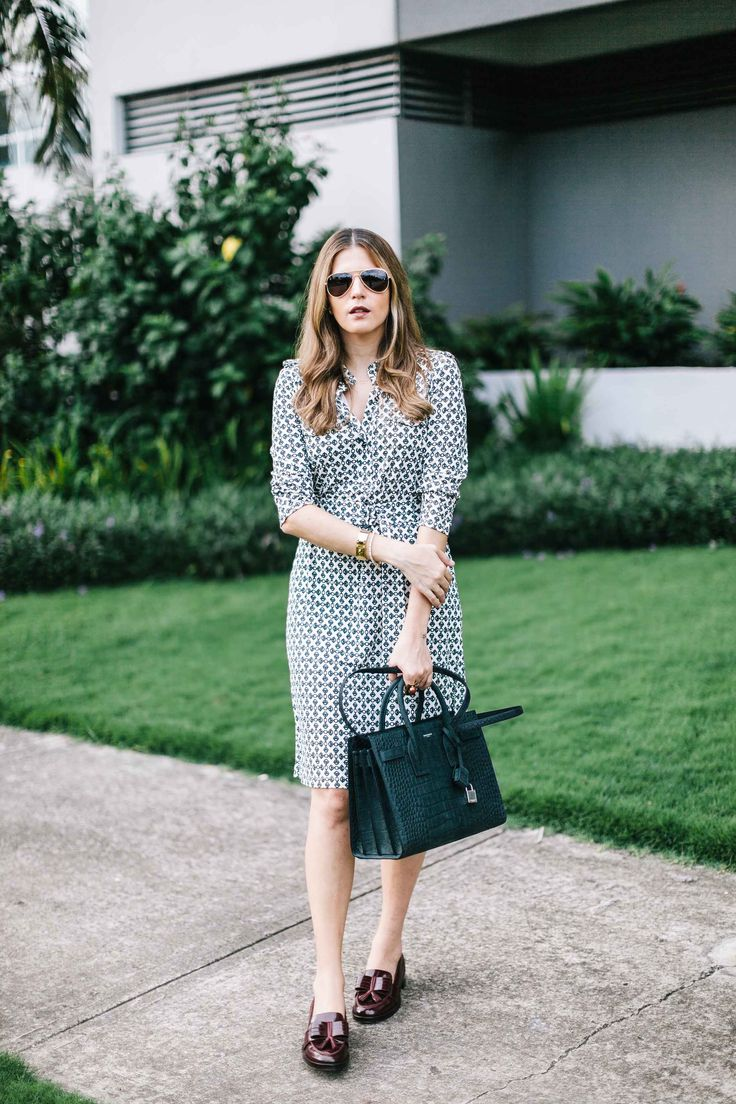 Seventies Inspired Work Outfit Idea With Loafers And Dress