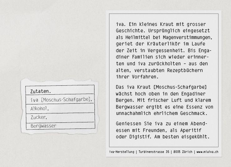 iva Kräuterlikör Packaging Design  www.miaiva.ch