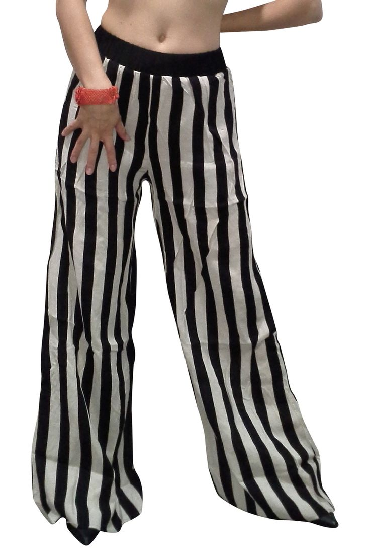 BUY THE TREND!  Wide Leg Pants --  100% Cotton!  Black & White Vertocal Stripes at 5dollarfashions.com