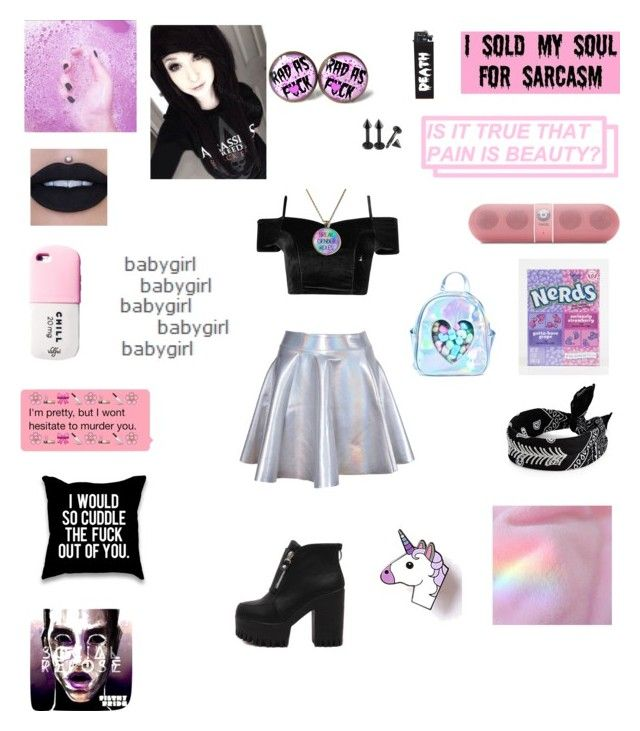 """Pastel goth"" by bad0kitty ❤ liked on Polyvore featuring Beats by Dr. Dre, IT'SUGAR, Fallon, Sugar Thrillz and GET LOST"