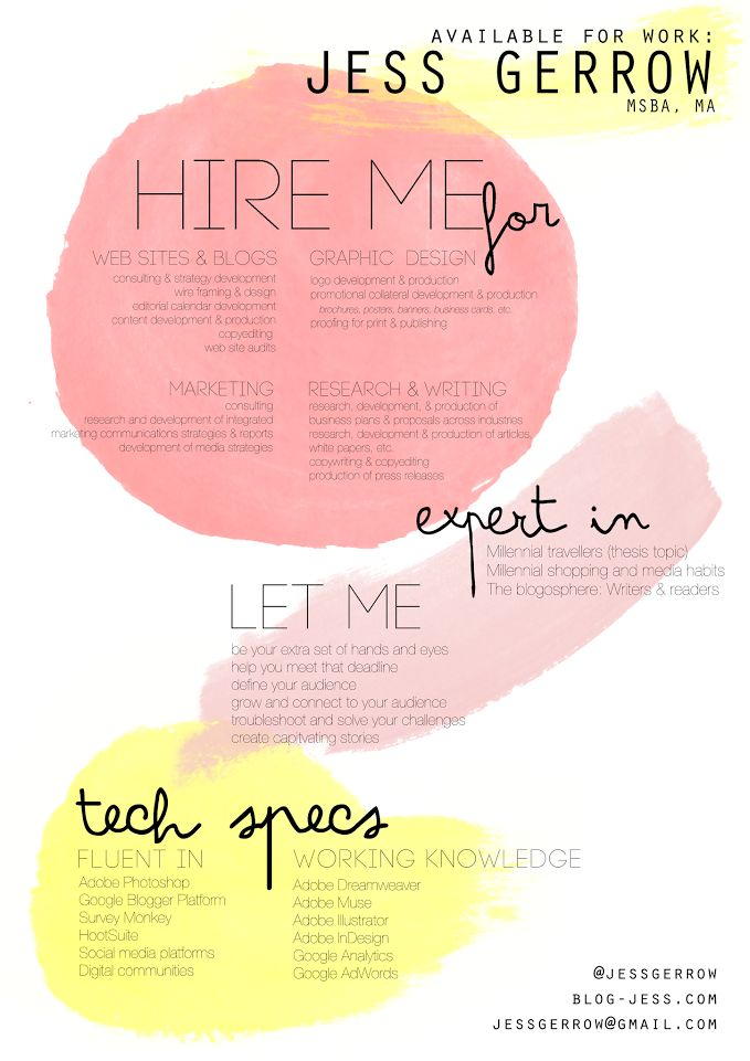 Freelance consultant, designer, and writer for hire / Resume design