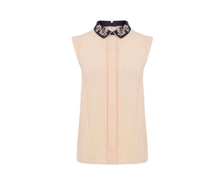 Oasis, Embroidered Collar Top Light Neutral 0