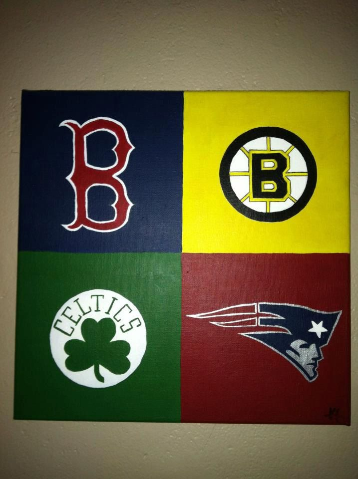 Great Christmas Gift, Digtal Print, Original Boston Sports Acrylic Painting with Red Sox, Patriots, Bruins and Celtics Logos. $10.00, via Etsy.