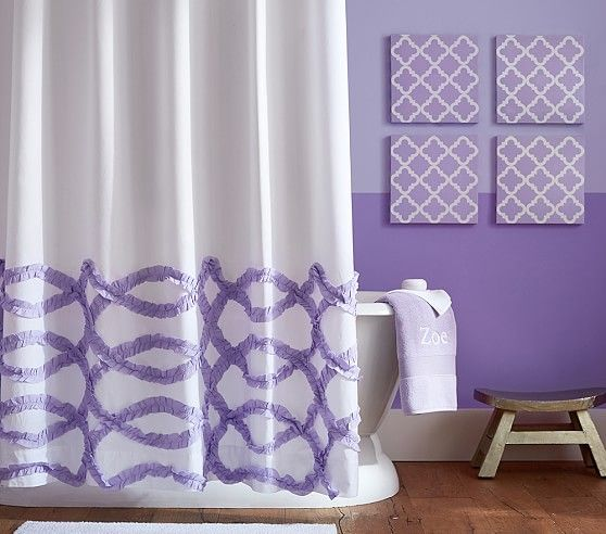 Ruffled Ribbons Decorate The Bottom Of This Shower Curtain To Provide Your Bathroom With An Elegantly Textured Pattern