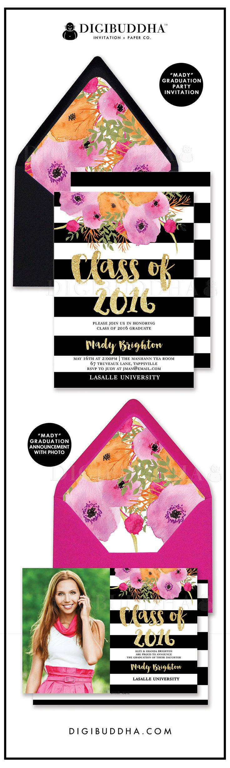 fabric purses Trend setting black and white stripe Graduation party invitations and graduation announcements with bright  bold watercolor flowers in modern fuchsia hot pink and orange  Modern elegant glam gold glitter brush lettering  optional floral watercolor envelope liners and tons of envelope color options   Available as a grad announcement with photo  or grad party invitation  Original design only available at digibuddha com