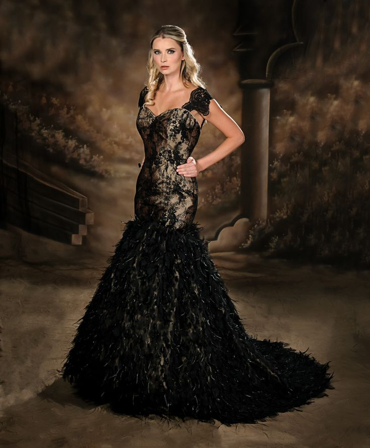 Black lace dress with feathers