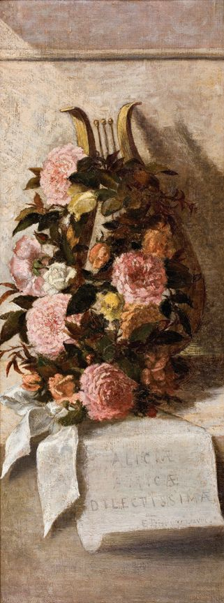 Floral Still Life with Roses and Lyre   1878  by Elizabeth Boott Duveneck Medium:	Oil on canvas Dimensions:	36 x 14 inches Signature:	Initialed E.B. and dated in Roman numerals at bottom of scroll Comment:	Dedicated to the artist's friend Alice with the inscription Aliciae Amicae Dilectissimae on the scroll.