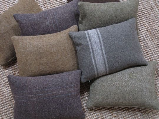 Toss pillows made from old military wool blankets