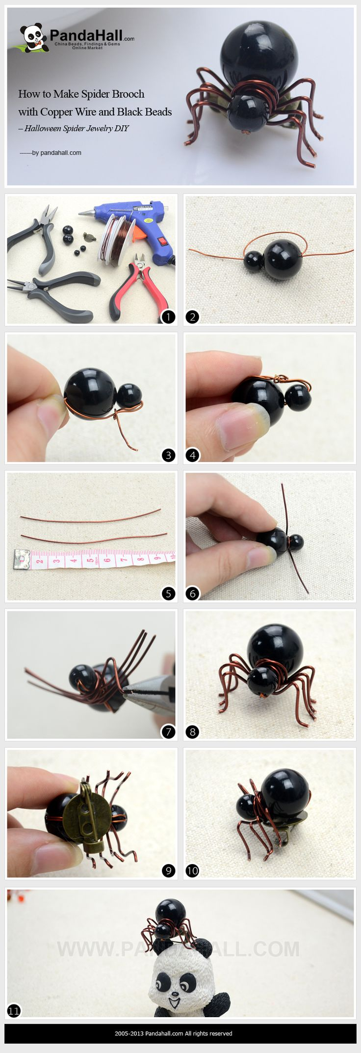 Make Spider Brooch with Copper Wire and Black Beads for Halloween