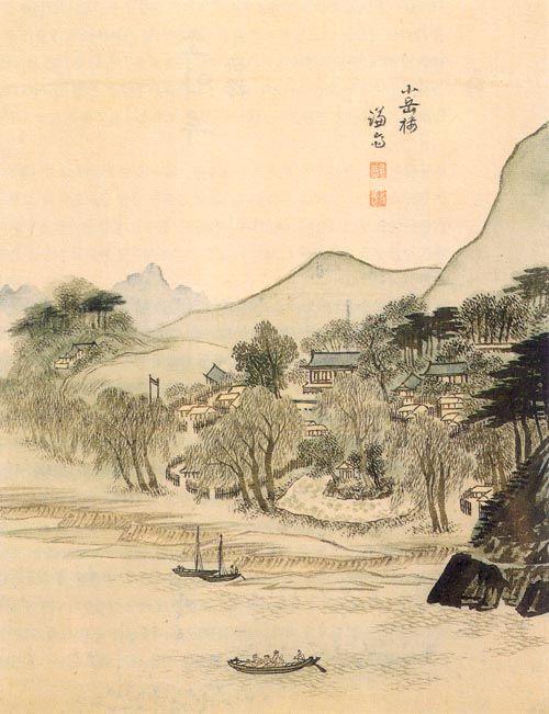 (Korea) A Small Peak Pavilion by Jeong Seon (1676-1759). ca 18th century CE. Joseon Kingdom, Korea. 소악루