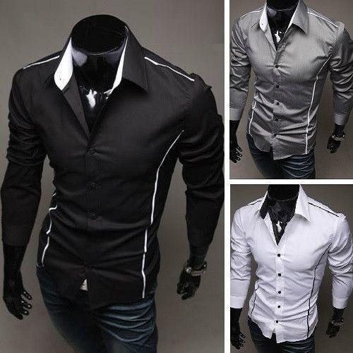 Mens Fashion Long Sleeve Dress Shirt Casual Slim Fit STYLISH Formal Dress Shirts - wwww.eDealRetail.com - $20.99