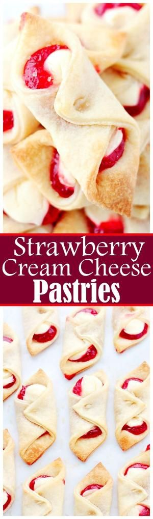 Strawberry Cream Cheese Pastries - Soft, flaky and delicious pastries filled with a sweet cream cheese mixture and strawberry jam. by ola