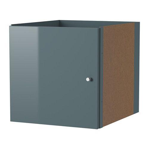 IKEA - KALLAX, Inzet met deur, hoogglans grijsturkoois,
