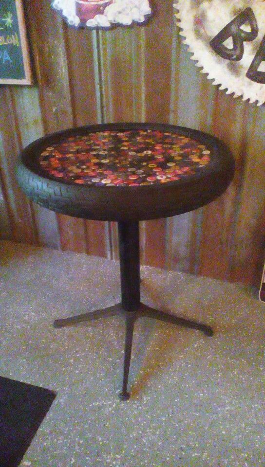 Bottle Cap Table Made With A Motorcycle Tire