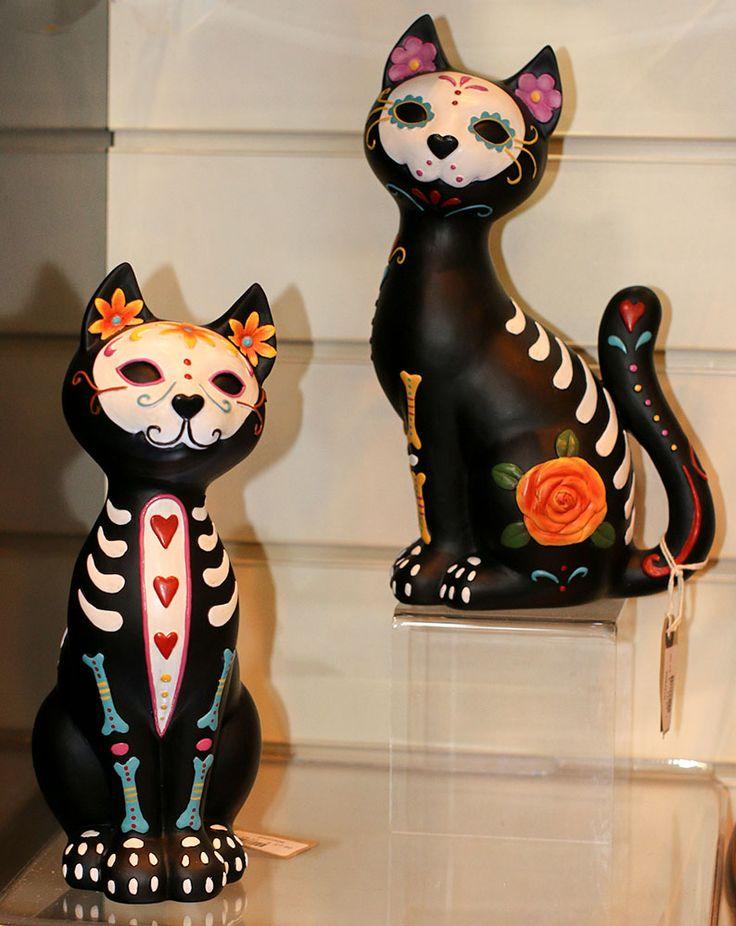 Schedels van de Suiker Kitty / Dag van de Dode Kat met Triple Heart Decoration [D1277D5_SUGAR_PUSS] - 19.32EUR: