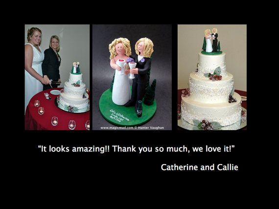 Wedding Cake Topper for Lesbians, Gay Brides  Lesbian's Wedding Caketopper, Wedding Cake Topper, lesbian marriage figurine    these were commissioned for gay brides marriages and wedding ceremonies involving two women.... be inspired by these examples and let us know what details would make the most memorable Lesbian wedding keepsake for you and yours!    $235 #magicmud 1 800 231 9814 www.magicmud.com