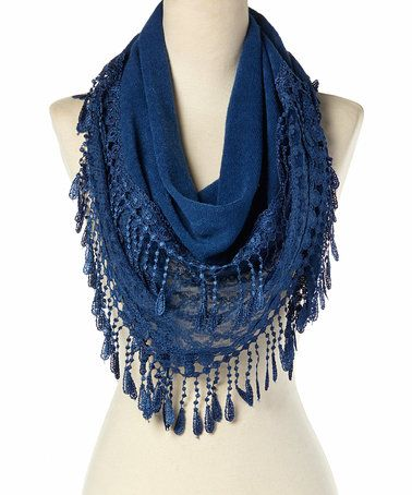 This Blue Lace-Crochet Fringe Scarf is perfect! #zulilyfinds