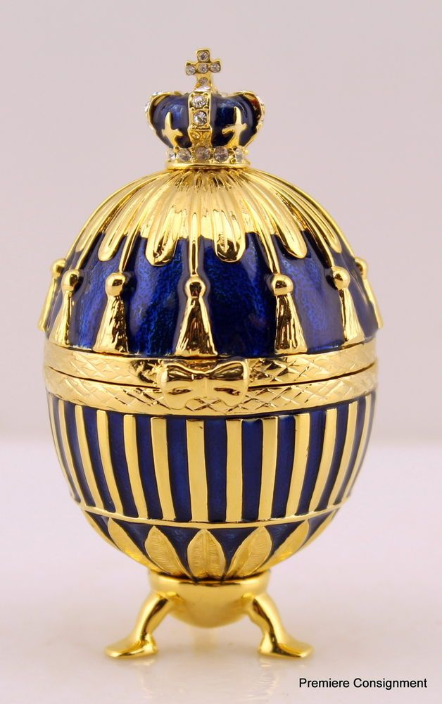 Faberge Russian Egg/Trinket box, Royal Blue and Gold