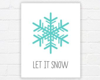 Let It Snow Print regalo di Natale blu citazione di PRINTANDPROUD