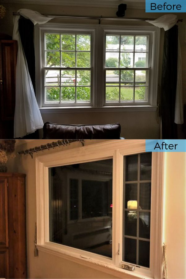Before And After Custom Low E3 Insulated Marvin Infinity Casement And Picture With Simulated Divided Lites Window Installation In Tenafly Nj Window Installation Windows Casement