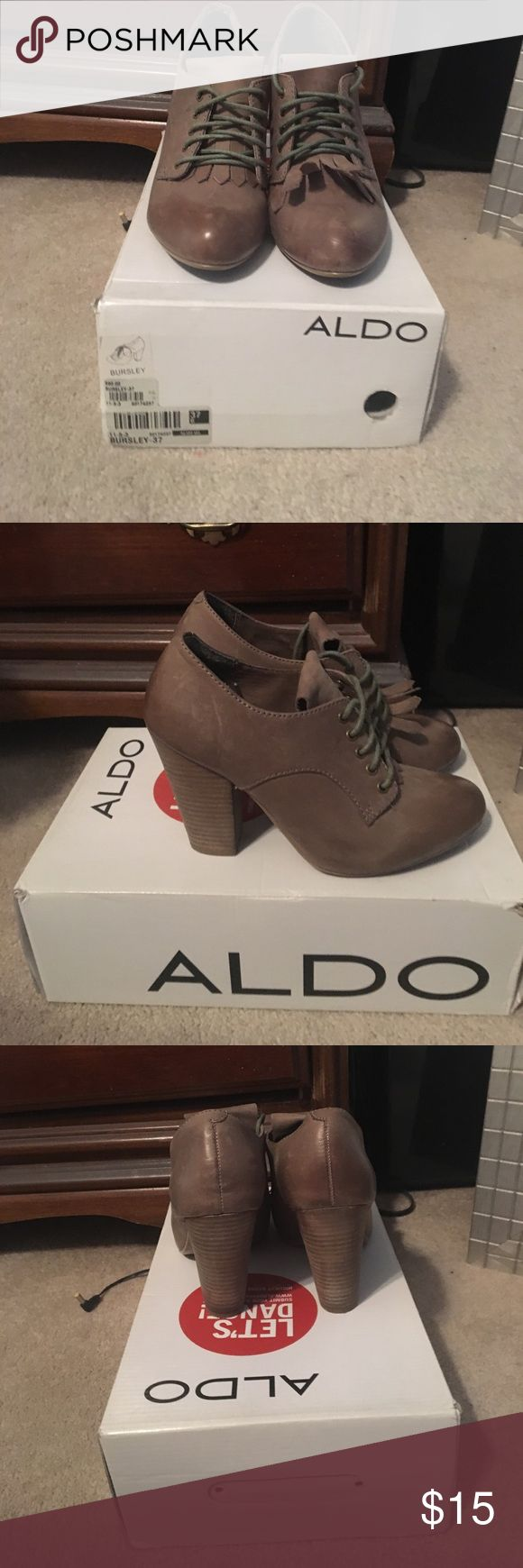 "Also Lace Up Block Heels Also Lace Up Block Heels. Size 37 (7) these run true to size in my opinion, I am no longer a 7 so I cannot fit them. All signs of wear depicted in photos and comes w original box/tissue paper. Heel height approximately 3 1/2"". Grey/taupe color. Aldo Shoes Heels"