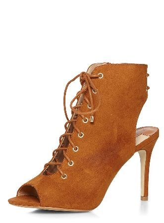 Dorothy Perkins Womens Tan Silvia Ghillie shoe boots- Brown Tan Silvia suedette ghillie peep toe foot coverage shoe boot with 3.5 heel. 100% TEXTILE. http://www.MightGet.com/january-2017-13/dorothy-perkins-womens-tan-silvia-ghillie-shoe-boots-brown.asp