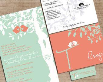 Custom Love Birds Wedding Invitations   Gray And Purple   Listing For  Blairbarnhill87