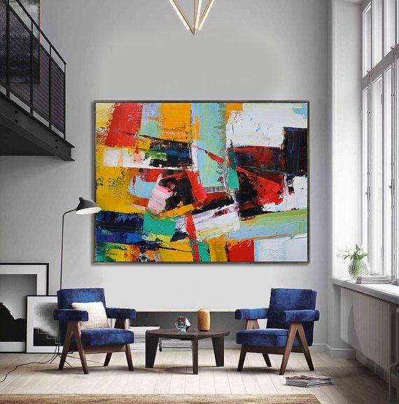 Handmade Contemporary art, palette knife painting on canvas from CZ ART DESIGN, Large horizontal art. @CeilneZiangArt