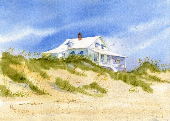 Sunwashed Pawley's Island Beach Cottage by maryellengolden on Etsy, $20.00