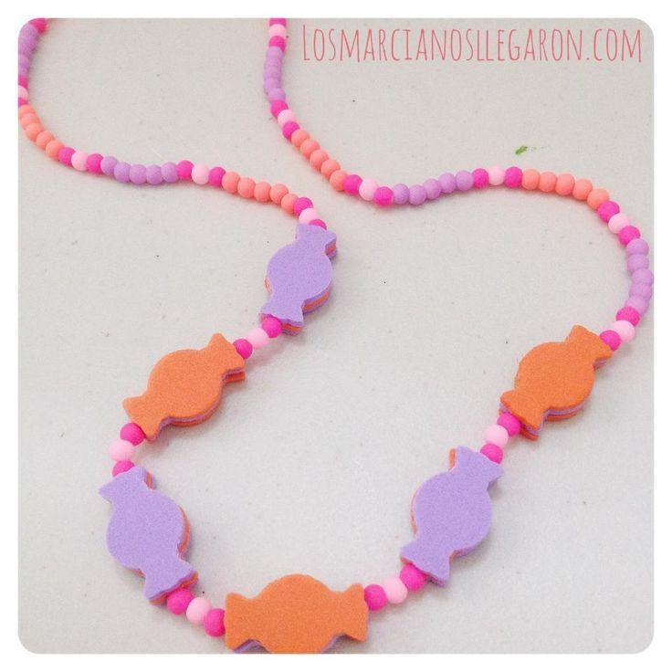 Collar para niñas con #Foami en forma de caramelos #EVAfoam #DIY #Bisuteria #Jewelry