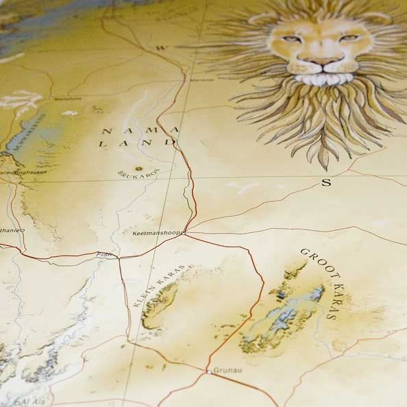 Detail from South Africa map: there be lyons in the northern reaches