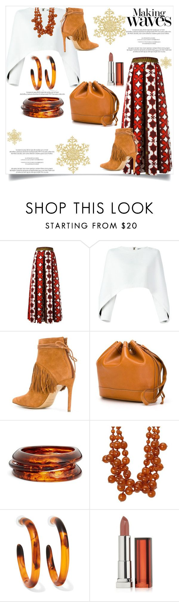 """""""Making Waves"""" by helenaymangual ❤ liked on Polyvore featuring Valentino, Balmain, Bionda Castana, Hermès, ZENZii, Kenneth Jay Lane, Dinosaur Designs, Louis Vuitton and Maybelline"""
