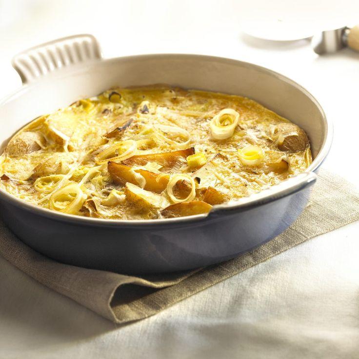 Recepten - Gebakken aardappelen met prei en ei