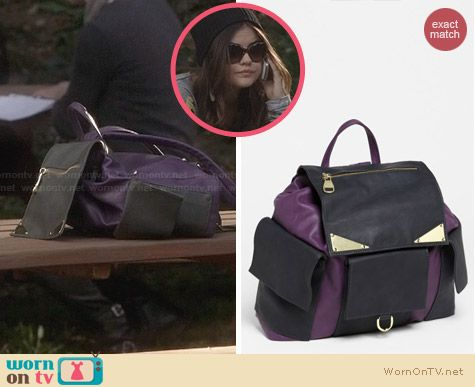 Aria's purple leather backpack on Pretty Little Liars. Outfit Details: http://wornontv.net/27883 #PLL #fashion