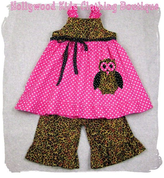 Custom Children Boutique Unique Handmade Cute Little Newborn Infant Toddler Baby Girl Clothes Clothing Leopard N' Hot Pink Dots Tunic Aline Dress Top w/ Matching Leopard Ruffle Pant Bottom Outfit Set 3 6 9 12 18 24 month size 2T 2 3T 3 4T 4 5T 5 6 7 8