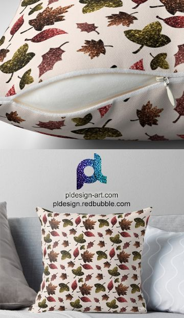 Sparkly leaves fall autumn sparkles pattern Throw Pillow by #PLdesign #sparkles #colorful #sparklesgift #redbubble