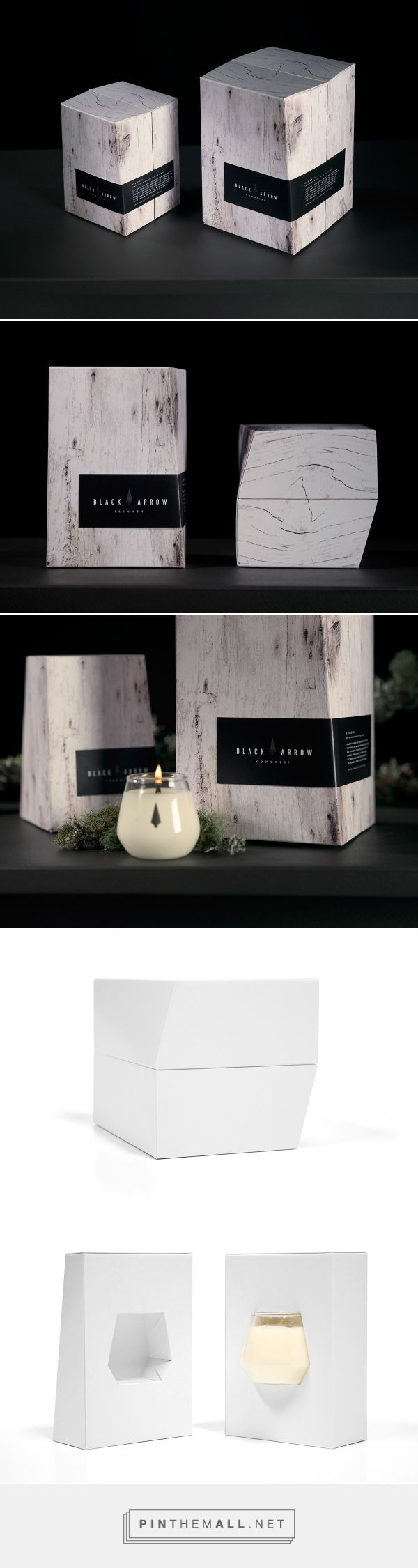 Black Arrow Candles - Arrowhead Range on Behance by Matt Bogust Auckland, New Zealand curated by Packaging Diva PD. Made to order handcrafted sophisticated brand of soy wax candles. Inside and out of packaging.