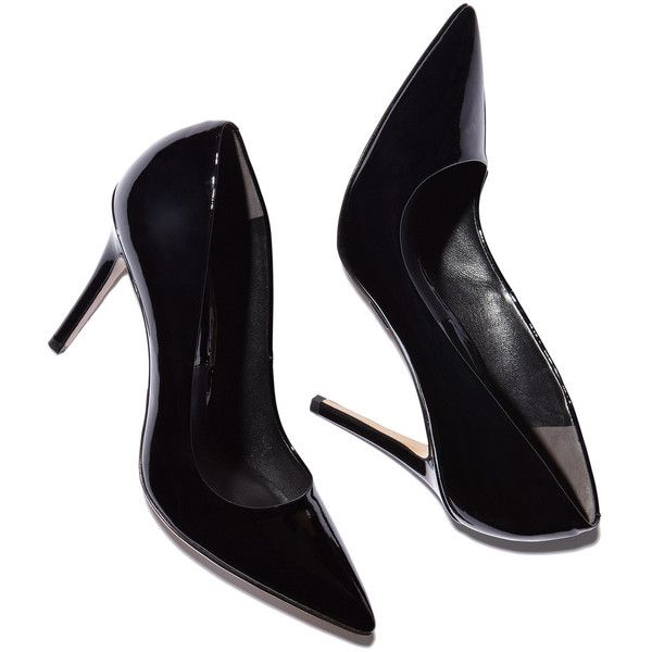 Michael Kors Collection Aarons Patent Leather Pump Goop ❤ liked on Polyvore featuring shoes, pumps, heels, patent shoes, heel pump, patent leather pumps, patent pumps and patent leather shoes
