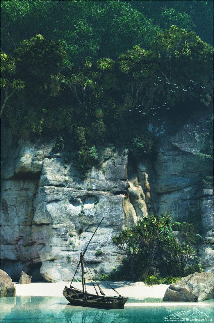 Tropical Isle, Rob Wildenburg on ArtStation at https://www.artstation.com/artwork/bD24k