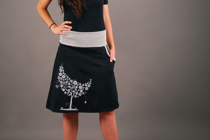 Hera serigraphy skirt (black/ white tree) from moondeval by DaWanda.com