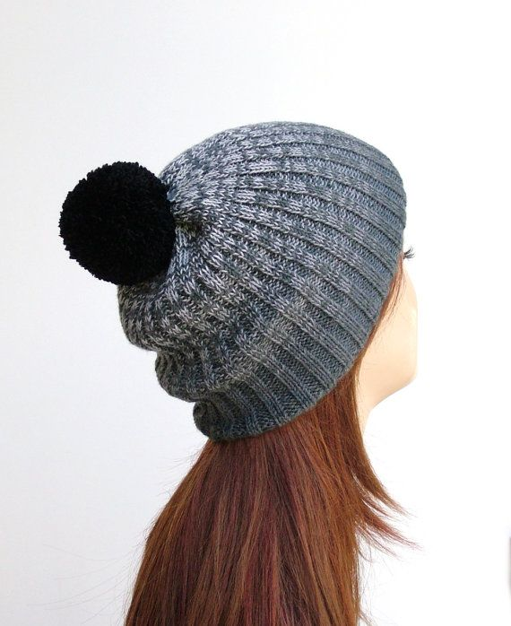 Ombre knit pom pom hat in grey and black by Rukkola on Etsy. #pompomhat #ombrehat #pompombeanie
