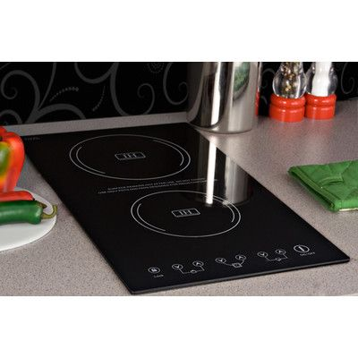 "Features:  -Fuel Type: Induction.  -Cooktop Style: Flat.  -Finish: Black.  -Includes a complimentary set of 3 pots with heat-resistant glass lids and one 9.5"" skillet.  -Cookware set are constructed w"