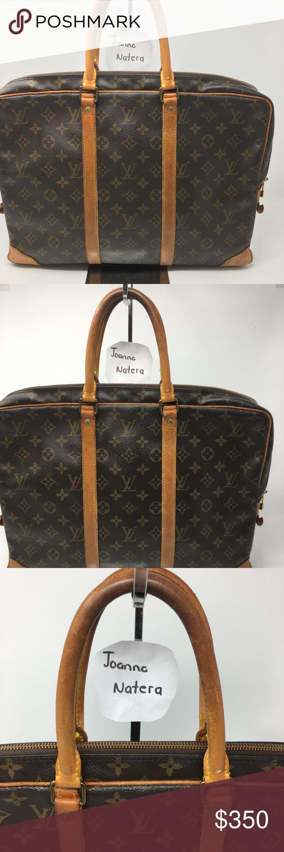 LOUIS Vuitton Porte document Briefcase Honey patina  Wear in handles  Inside it's clean but minor scratches. Please see pic Has different compartments  Pen compartment and Agenda or books compartments  Vaschetta has some water spots  Measurements W15.7 x 12 x 2.5 Date code V.I 0971 Louis Vuitton Bags Laptop Bags
