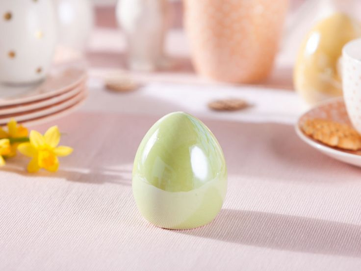 Figurka Ozdoba Jajko Ceramiczne Swieta Wielkanoc Altom Design Perlowe Zielone Egg Cup Cup Food