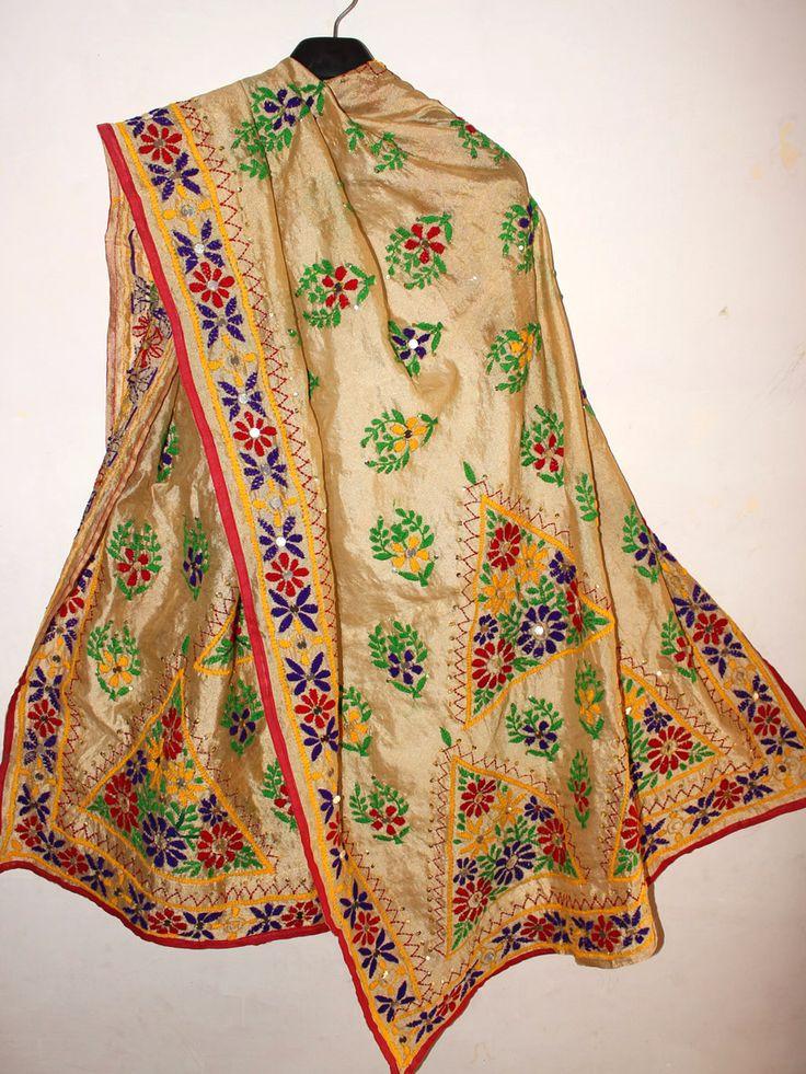 Multicolor Phulkari Handembroidered, Golden Chanderi Dupatta. #phulkari #phulkaridupatta #fulkari #dupatta #goldenphulkaridupatta #handembroideredfulkari #Shilphaat.com