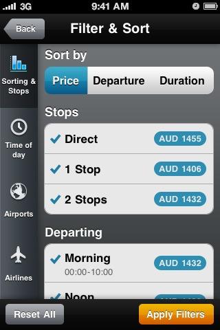 Filter & Sort screen of Momondo Flight Search #UI #Design #iOS