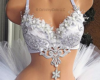 Snowflake White Winter Wonderland Rave Bra Ice by VinylDolls